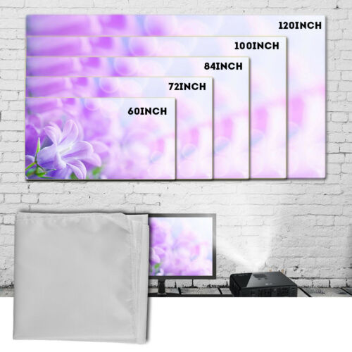 60-120 Inch Portable White Outdoor Home Projector Curtain Projection Screen 16:9