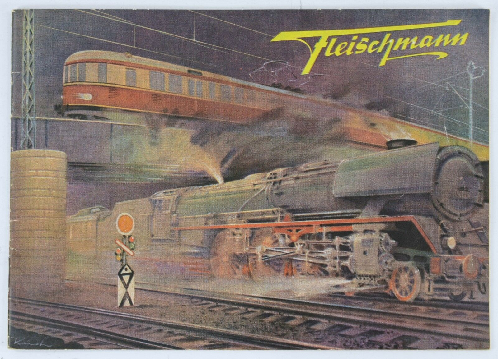 FLEISCHMANN 1952 20 PAGE CATALOGUE IN GERMAN PLUS FLIER & PRICE LIST NEAR MINT
