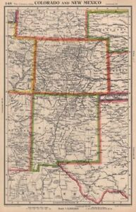 COLORADO AND NEW MEXICO. USA state map. BARTHOLOMEW 1944 old vintage ...