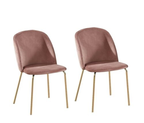 MCC® Velvet Fabric Dining Chairs golden finish Metal Legs Living Room Chair Dale