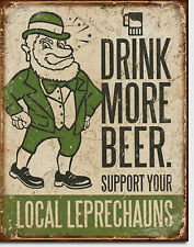 Drink More Beer Leprechauns Metal Sign Tin New Vintage Style USA  #1827