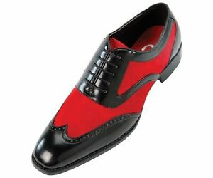 Mens Fashion Wingtip Red Suede And Leather Formal Shoes Men Dress