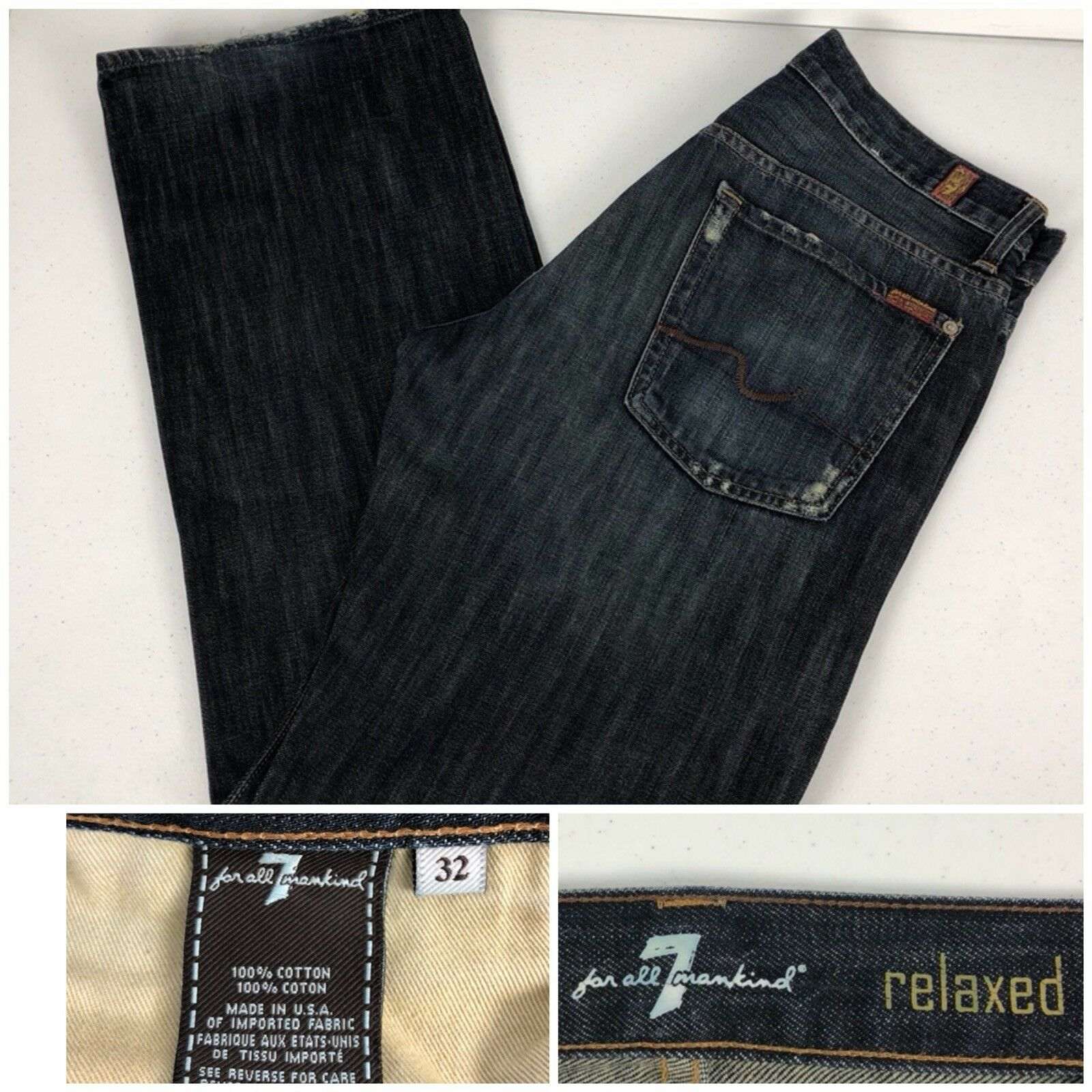 7 For All Mankind Mens 32 X 32 Jeans Distressed Relaxed Made In USA