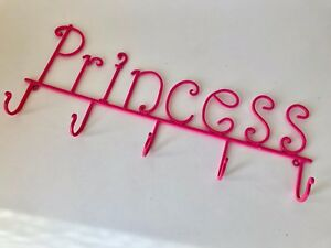 Pink-Princess-Metal-Art-Wall-Hanger-23-034-L-5-Hooks-Jewelry-Scarves-Mint