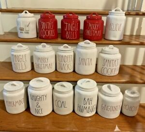 Rae-Dunn-Christmas-Canister-Believe-Merry-Christmas-Jingle-Bells-Santa-039-s-Cookies
