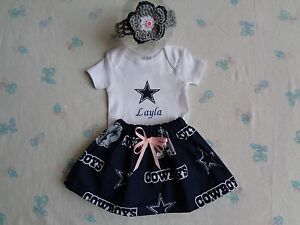 new styles d530d fbd26 Details about Dallas Cowboys Baby Girl Skirt, Personalized Bodysuit and  Headband.