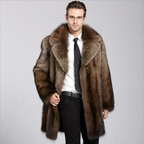 Thicken Mens Genuine Mink Fur Warm Winter Coat Jacket Lapel Parka Outwear Long A