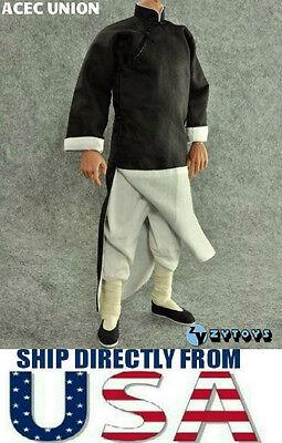"SELLER 1//6 Long Sleeves Kung Fu Costume Suit Set BLACK For 12/"" Figure U.S.A"