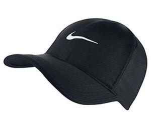 NWT NIKE Women s Dri-Fit Feather Light Running Tennis Hat Cap BLACK ... 734c3c300a