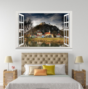 3D Hill Houses 899 Open Windows WallPaper Murals Wall Print Decal Deco AJ WALL