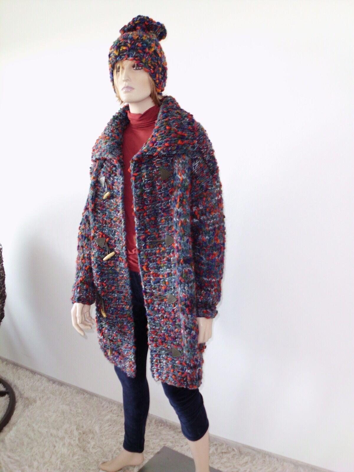 Jacke Strickjacke Mantel handgestrickt  handknitted 42 44 L XL bunt sweater