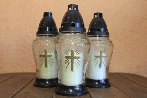 3 Grablaterne aus Glas Grabkerze Grablicht Grabkerzen Grabschmuck Grablichter BW