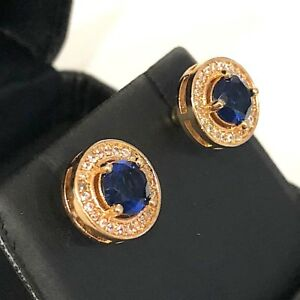 2-Ct-Round-Blue-Sapphire-Diamond-Earrings-14K-Yellow-Gold-Plated-Jewelry-Gift