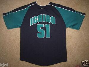 reputable site a31c8 66ffe Details about Ichiro Suzuki #51 Seattle Mariners Jersey Youth Sm 7