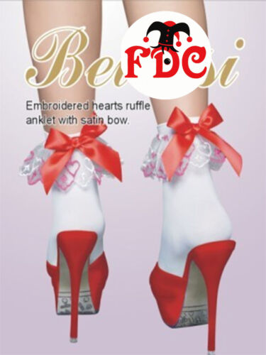 WHITE POP SOCKS WITH RED SATIN BOWS AND LOVE HEARTS