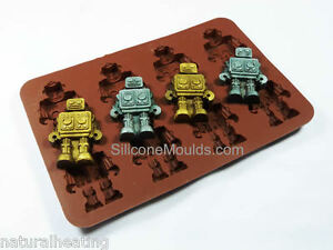 8 cell brown chocolate candy ice robot silicone mould cake topper