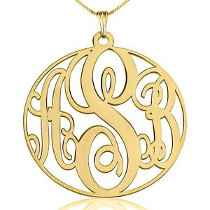 Large gold monogram necklace gold plated 15 monogrammed pendant image is loading large gold monogram necklace gold plated 1 5 aloadofball Gallery