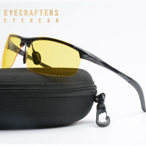 Night Vision HD Men/'s Sunglasses Driving Metal Polarized Yellow Outdoor Glasses