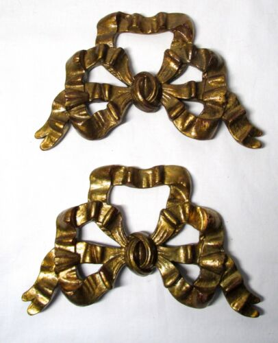 Set Of Two Antiqued Gold Finish Resin Ribbon Bow Picture Toppers Hangers