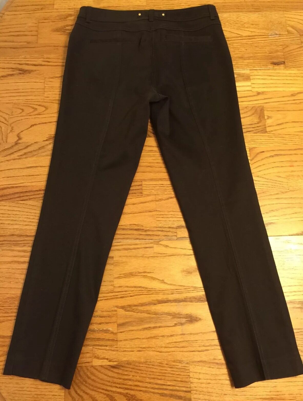 Chocolate Cache Pants Size 4 Classy Stretch Pleated Front Straight Leg Nice