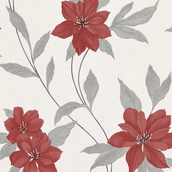 Erismann-Spring Floral Traditional Flower Textured Vinyl Wallpaper Red 9500-06