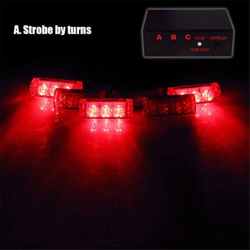 6X 3 LEDS Car Truck Police Strobe Emergency Flashing Light Dash Lamp Red//Blue