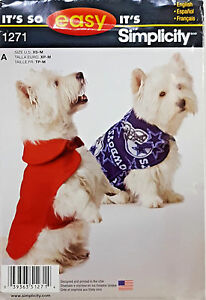 SIMPLICITY PATTERN DOG COAT IN 3 SIZES XS-S-M # 1271