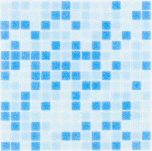 Glasmosaik carreaux bleu clair bleu mur douche salle de bains carrelage miroir 1 tapis es-27200