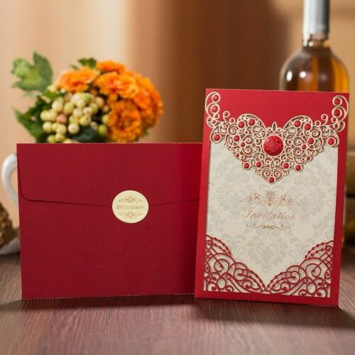Delicate Carved Wedding Birthday Party Invitation Card Envelope Invitations