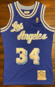 Details about Mitchell & Ness HWC NBA LA Lakers Shaquille O'Neal Blue Basketball Jersey