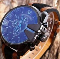 Herrenuhr Analog Sport Armbanduhren Edelstahl Case Quartz Synthetic Leder Watch