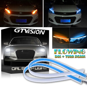 Amber ICE BLUE For Audi Headlight Style Switchback Sequential LED DRL Strip Lamp