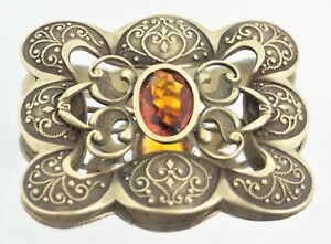 Art-Nouveau-Faceted-Amber-Glass-OX-Brass-Brooch-Pin-C-Clasp