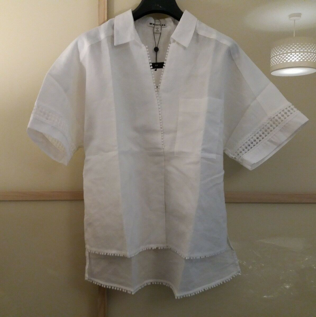 BNWT Whistles Kristyn Lace Insert Shirt Top S M L White rrp