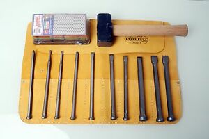 Tungsten-Tip-Stone-Carving-Mallet-Head-Full-Chisel-Set-w-Free-Tool-Roll-or-Block