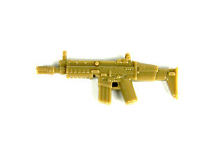 Dark Tan SCAR (W63) Assault Rifle compatible with toy brick minifigures Army