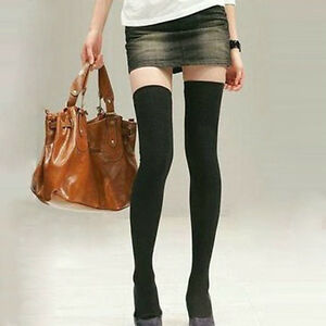 ae71a74b3 22 Inches Long Japanese Solid Black Thigh High Socks Over Knee Socks ...