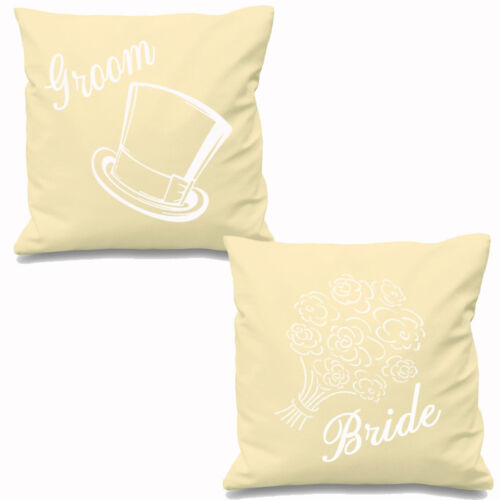 """BRIDE AND GROOM CUSHION COVER GOLD HEART LOVE COUPLES PARTNERS 16/"""" OR 18/"""" SQUARE"""