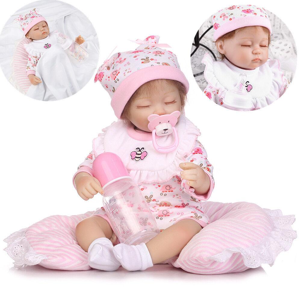 40cm Reborn Baby Puppe Lebensecht Handgefertigt Weich Silikon-Vinyl Mädchen DHL