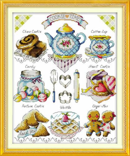 Blue Tea Cake Counted Cross Stitch Kit 14 ct 36 x 44cm A Free P/&P