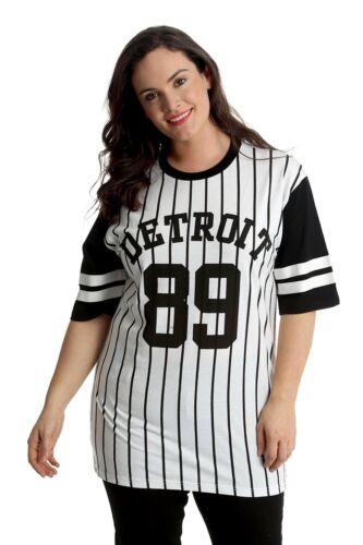 Ladies T-Shirt Womens Plus Size Top Varsity Baseball Shirt Detroit 89 Nouvelle