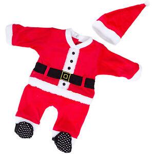 Bambino-neonato-tutina-Babbo-Natale-cappellino-eco-pelliccia-pagliaccetto-FC232
