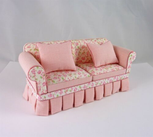 Dollhouse Miniature Ashely Shabby Pink Sofa, SC100