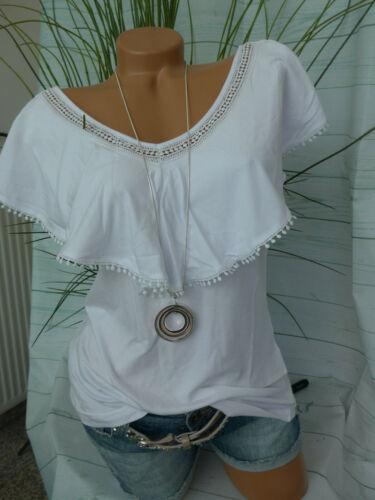 447 Señora camisa blusa manga corta Carmen talla 40 hasta 46 blanco volant nuevo