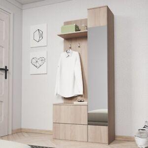 Vestiaire Meuble D Entree Chelsy Blanc Chene Miroir Patere Range Chaussures Ebay