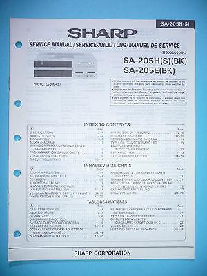 Service Manual-anleitung Sharp Sa-205h/e Tv, Video & Audio original