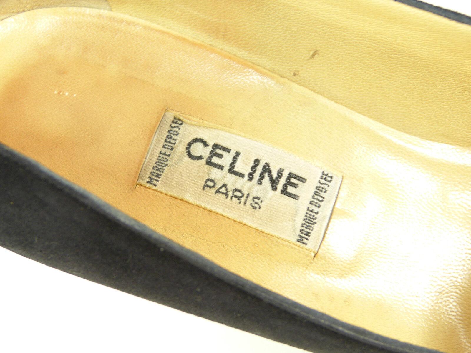 Celine Paris negro de salón talla 38,5 negro Paris & lujo pur-con bucle (K 6792) 5bb9b3