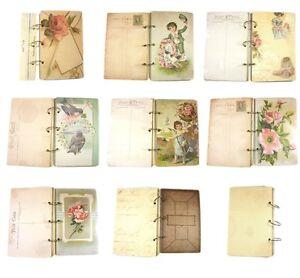 Melissa-Frances-POSTCARD-ALBUM-Vintage-Stil-Chipboard-bedruckt-distress
