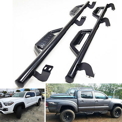"""3/"""" Side Step Nerf Bar with Dropped Steps For 05-18 Toyota Tacoma Crew Cab Black"""