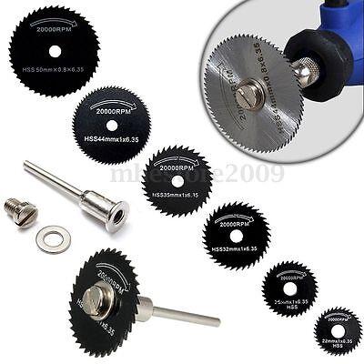 6pcs HSS 22-50MM Mini Saw Blades + Mandrel For Rotary Tool Cutting Discs Wheel